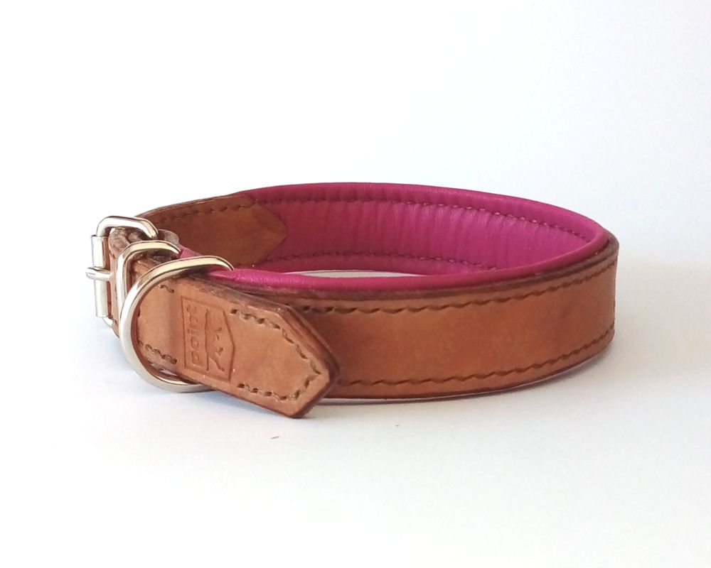 Lined and stitched leather dog collar